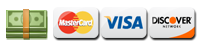 We Accept Cash, Checks, Credit & Debit