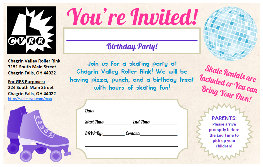 Chagrin valley roller rink birthday party invitations chagrin chagrin valley roller rink birthday party invitations filmwisefo