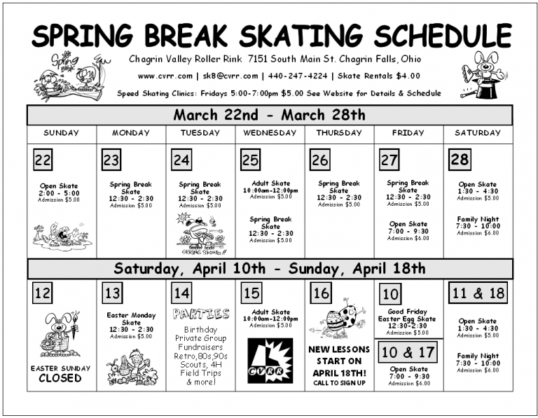 Spring Break Schedule & Good Friday Easter Egg Skate - Chagrin Valley Roller Rink Spring 2020 Calendar